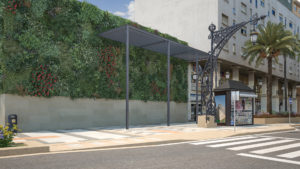 infografía 3D render del Jardin vertical de la Gran Via de Ceuta
