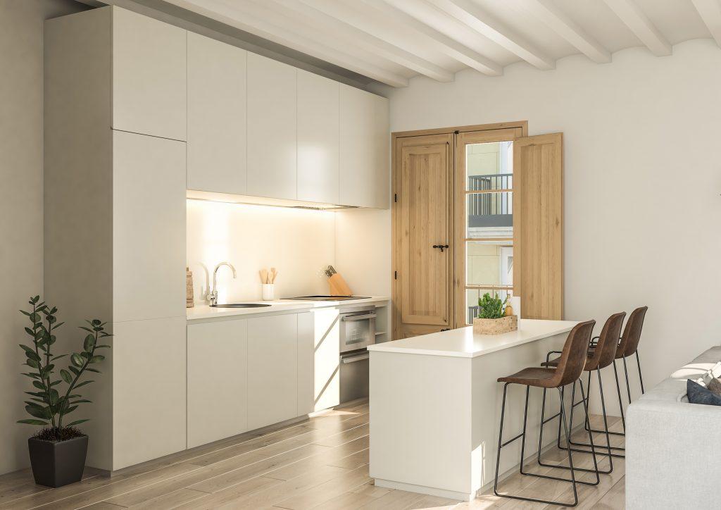 infografia 3D render de la cocina promocion Correu Vell
