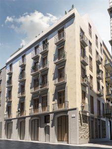 infografia 3D render fachada principal promocion Correu Vell