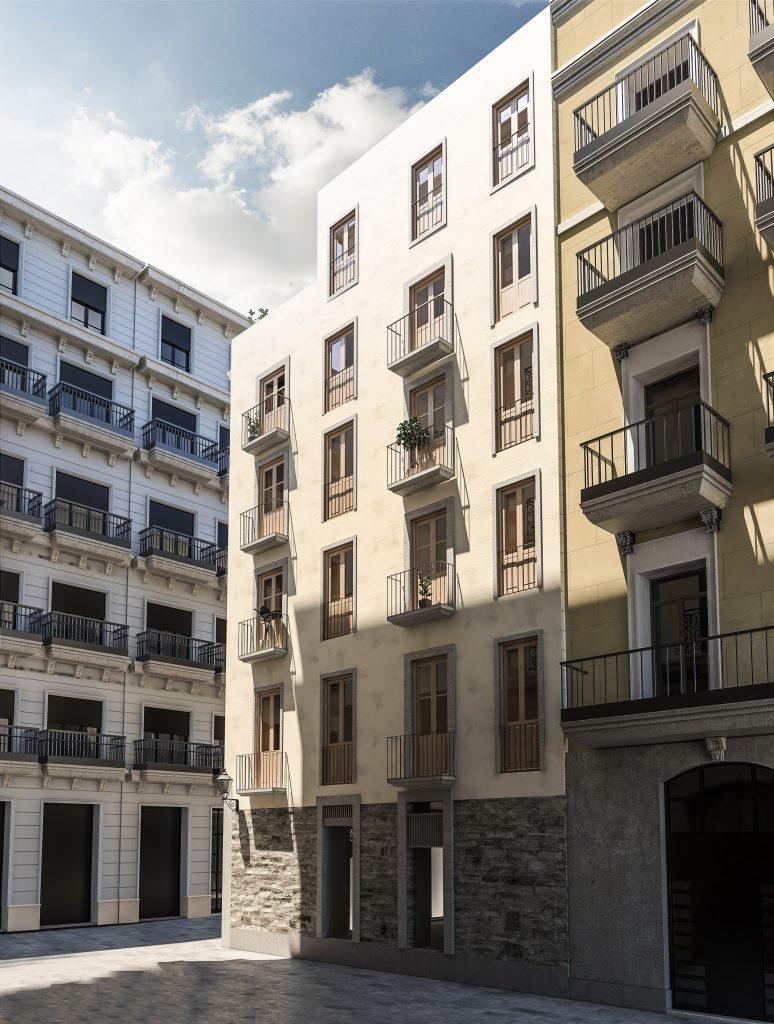 infografia 3D render fachada lateral promocion Correu Vell