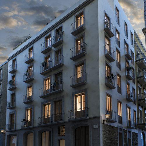 infografia 3D render nocturna fachada principal promocion Correu Vell
