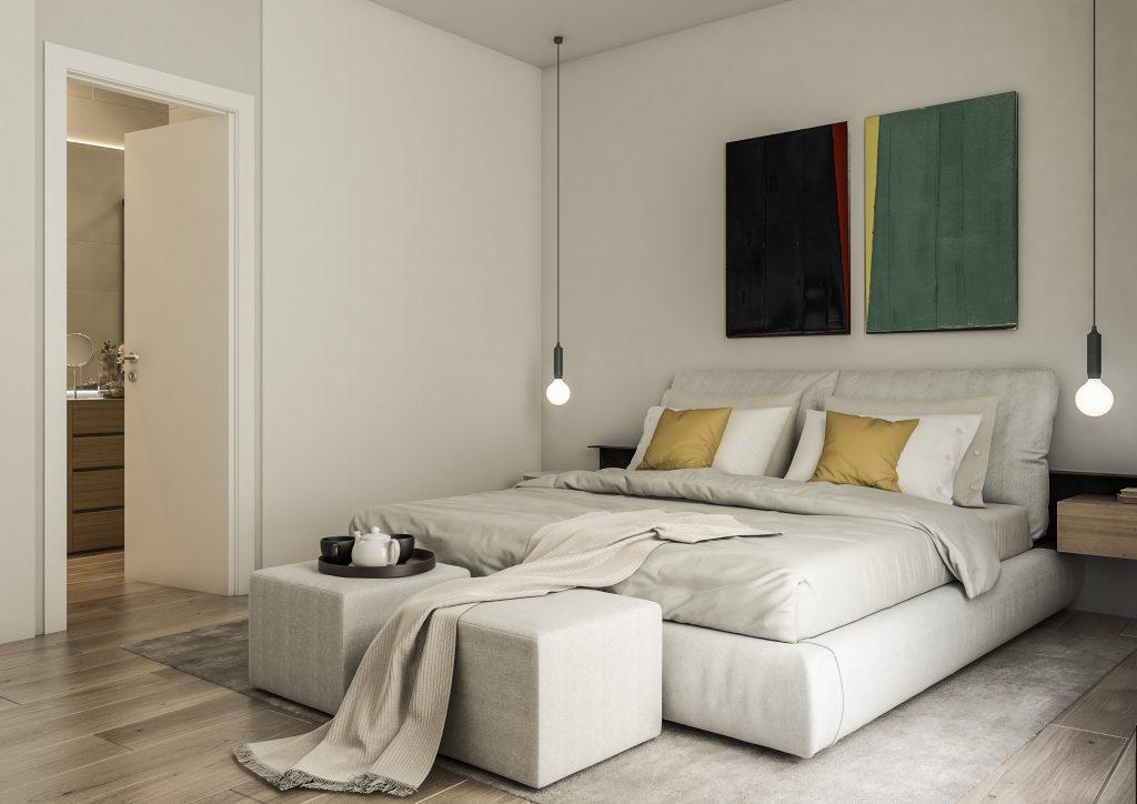 infografia 3D render habitacion principal comedor promocion Correu Vell