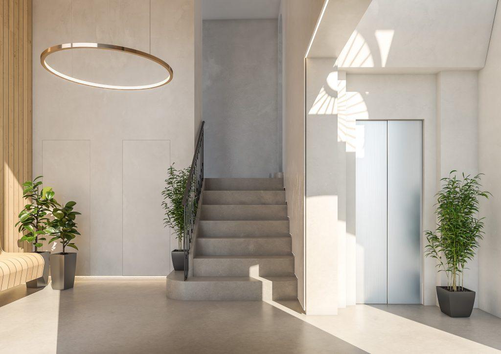 infografia 3D render vestibulo promocion Correu Vell