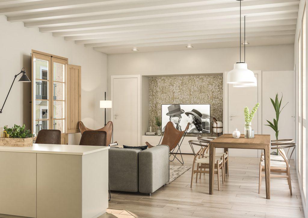 infografia 3D render salon comedor promocion Correu Vell